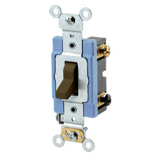 Leviton: 1203-2, 15 Amp, 120/277V, Toggle 3-Way AC Quiet Switch, Brown