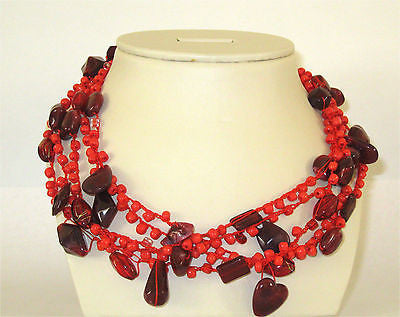 Hand Braided and Knitted Stone 5 Strands Beaded Red Necklace