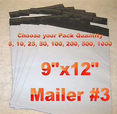 9x12 White Poly 2mil Plastic Self Seal Mailer Bag #3, Water Resistant {Free Shipping}