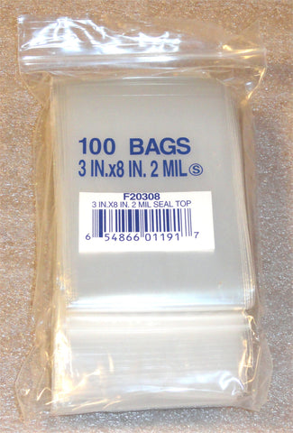 "3""X8"" 2 Mil Poly Clear Reclosable Ziploc Bags {Free Shipping}"