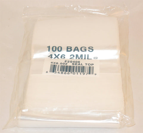 "4""X6"" 2 Mil Poly Clear Reclosable Ziploc Bags {Free Shipping}"