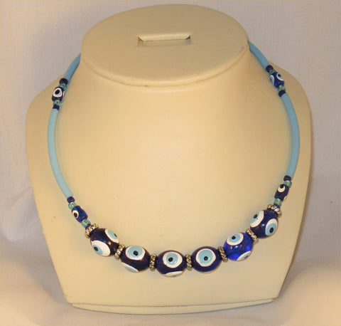 All Blue Eye Beads Necklace