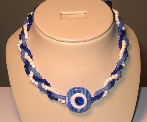 3 Strands Blue, White Beads Eye Pendant Necklace