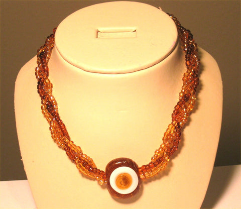 3 Strands Earth Tone (Brown, Yellow) Beads Eye Pendant Necklace