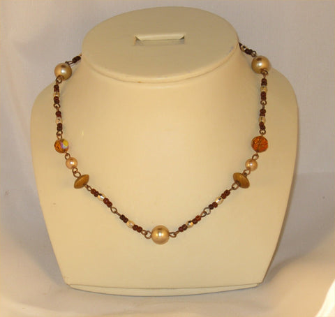 Brown Beads and Metal Necklace