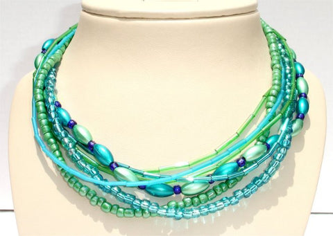 7 Strands Blue Green Lovers Necklace