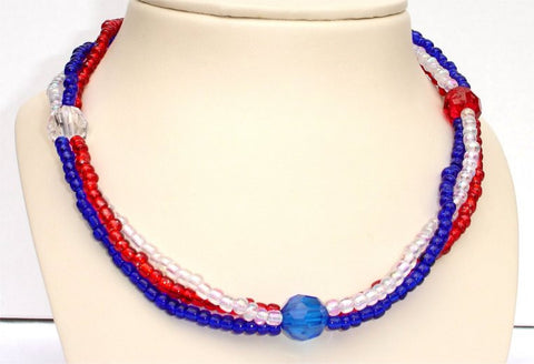 3 Strands of Red, Blue and Clear Beads and 3 Round Beads Patriotic Necklace