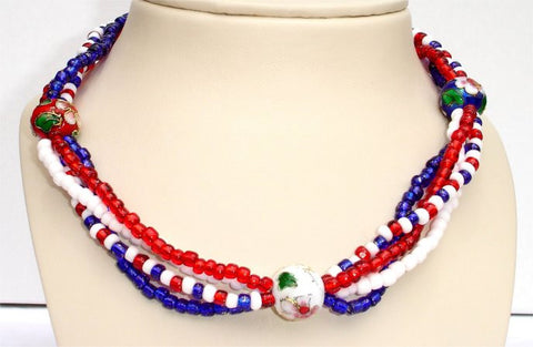 4 Strands of Red, Blue and White Beads and 3 Round Ceramic Beads Patriotic Necklace
