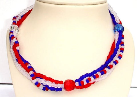 4 Strands of Red, Blue and Clear Beads and 3 Round Beads Patriotic Necklace