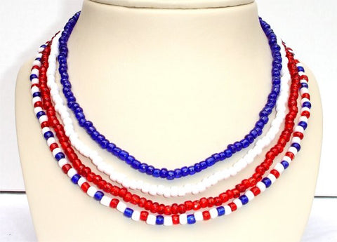 4 Leveled Strands, Red, Blue and White Beads Patriotic Necklace