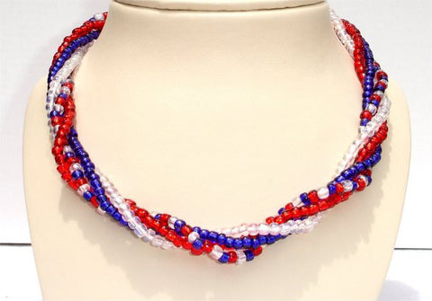 4 Strands, Bright Red, Blue and Clear Beads Patriotic Necklace