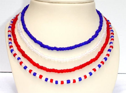 4 Leveled Strands, Red, Blue and Frosted Clear Beads Patriotic Necklace