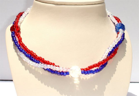 3 Strands, Bright Red, Blue and Clear Beads and 3 glass bead Patriotic Necklace