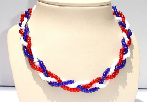 3 Twisted Strands, Bright Red Blue and White Beads Patriotic Necklace