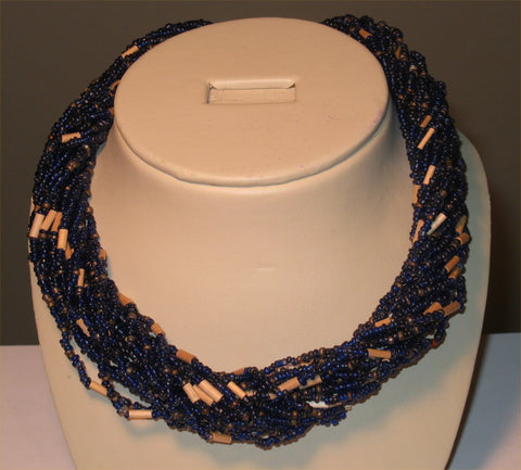 20 Strands of Navy Color Seed Bead Necklace