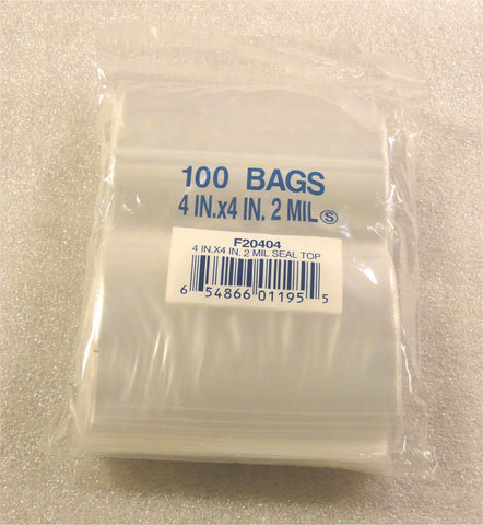 "4""X4"" 2 Mil Poly Clear Reclosable Ziploc Bags {Free Shipping}"