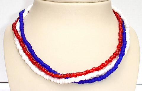 3 Strands, Red, Blue and White Beads Patriotic Necklace