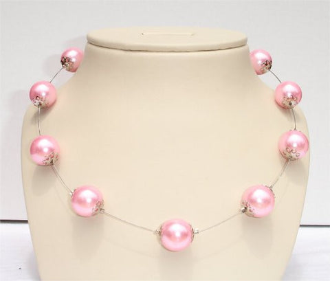 Pink Pearl Beads Necklace - NSPR118