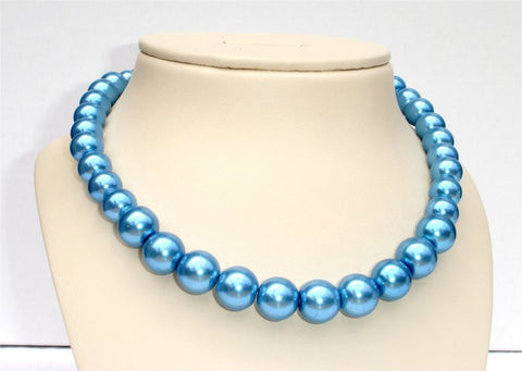 Blue Pearl Beads Combination Set (Necklace and Earrings)