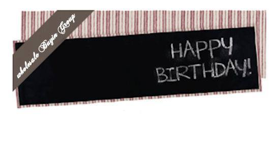 Red Ticking Chalk Board Table Runner