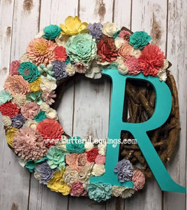 Custom Wood Flower Initial Wreath