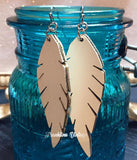 Feather Leather Drop Earrings in many colors