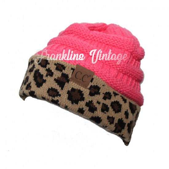 CC Beanie Adult Size Messy Bun Pony Tail Beanie Cheetah in various colors