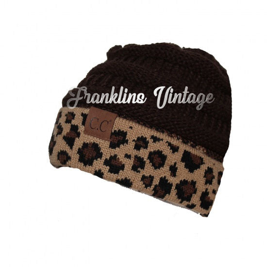 ccf676aa586 ... CC Beanie Adult Size Messy Bun Pony Tail Beanie Cheetah in various  colors ...