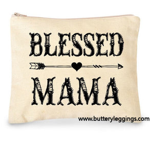Blessed Mama Canvas Large Makeup Zip Bag