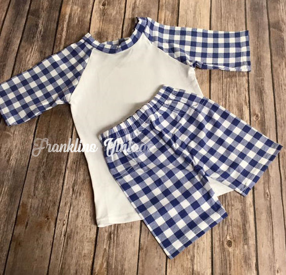 Boys shorts & Shirt Set in Navy Check