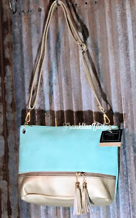 Bottom Zip Tassel Two Tone Purse in 4 different color choices