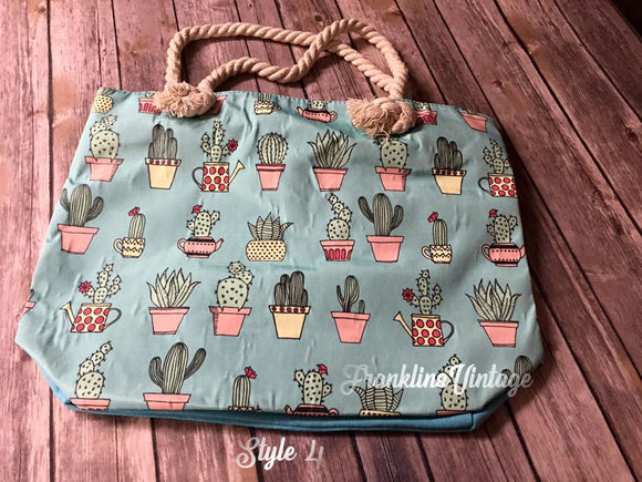 Canvas Cactus Zip Close Bag