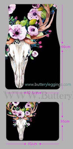 Floral Deer Skull Black Car Mats Set