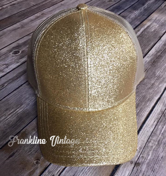 Official CC Beanie Glitter Ponytail Baseball Cap in Gold or Black