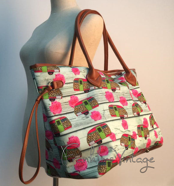 Cheetah Print Campers & Roses Oversize Bag