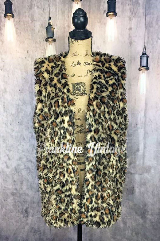 Ladies Cheetah Fur Fuzzy Vest