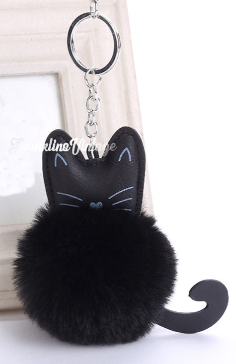 Fuzzy Kitty Cat Pom Pom With Tail Keychain Brown, White or Black