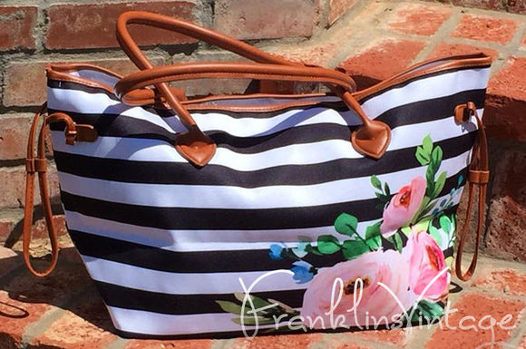 Black & White Striped Floral Pattern Oversize Bag