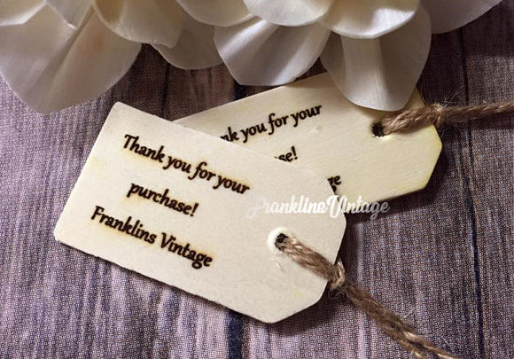 10 Custom Wooden Store Tags - Choose your wording