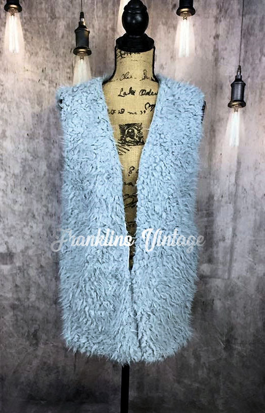 Ladies Grey Fur Fuzzy Vest