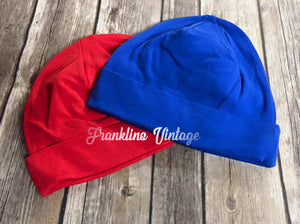 Baby Blank Cotton Hats in Red, Royal or Chevron