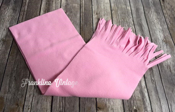 Kids Tassel Fleece Scarf in Pink or Ivory