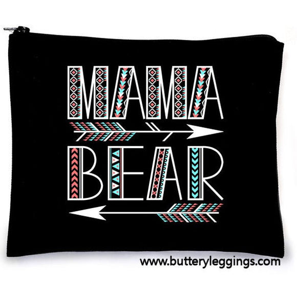 Mama Bear Arrow Canvas Large Makeup Zip Bag