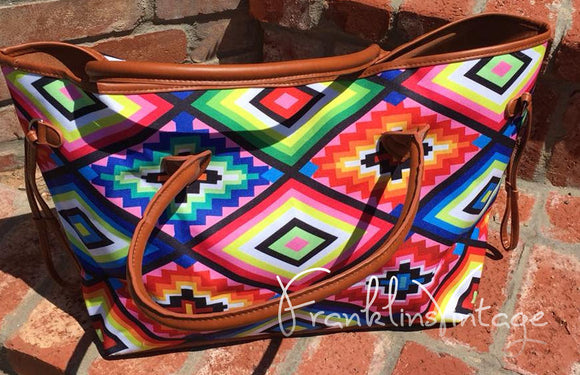Navajo Indian Brights Pattern Oversize Bag