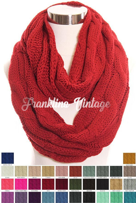 CC Beanie Infinity Knit Scarf Many Color options