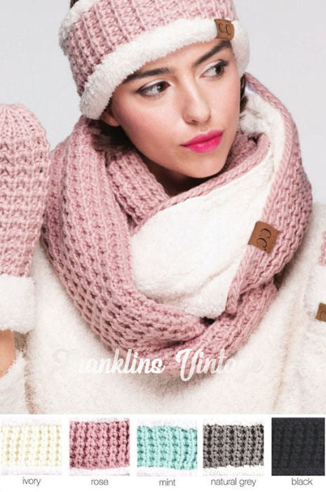CC Beanie Sherpa Lined Infinity Scarf