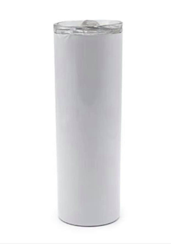 Case of 24 Sublimation white 20 ounce skinny straight tumbler
