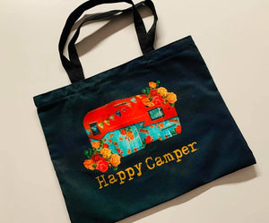 Happy Camper Zip Close Tote Bag