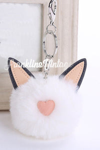 Fuzzy Kitty Kat Cat Pom Pom Keychain White or Black