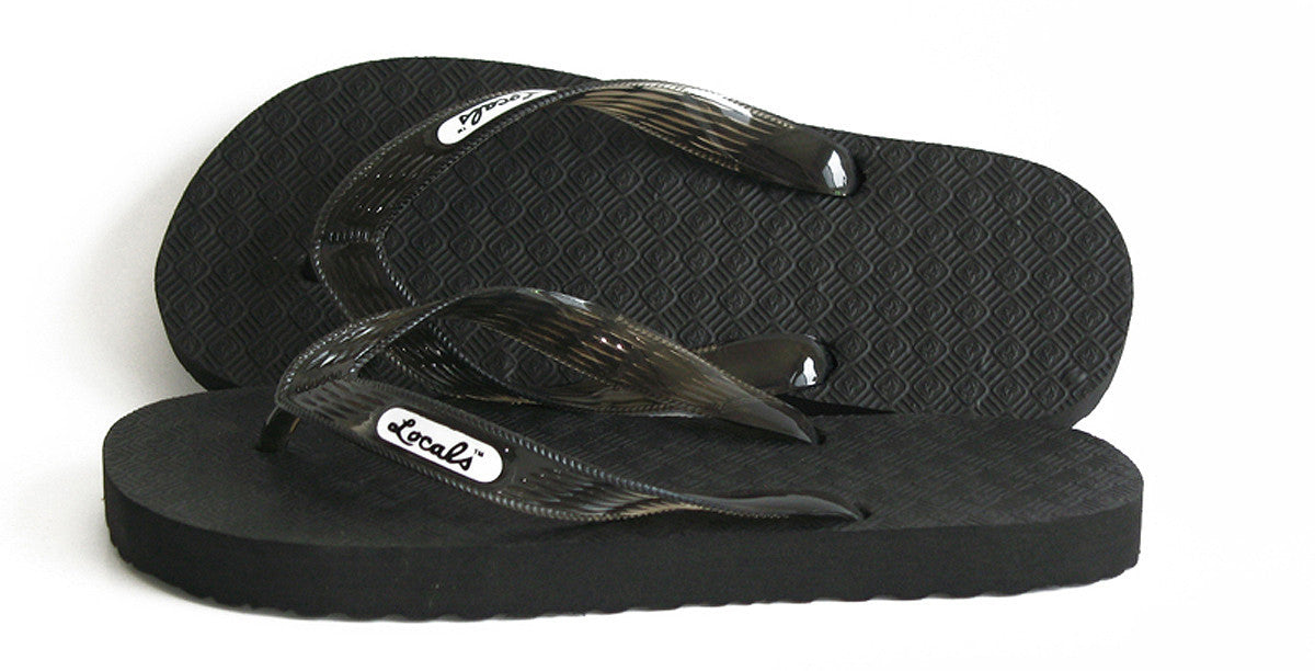 Men's Original Locals Black Rubber Slippers with Colored Translucent Straps- AlohaShoes.com